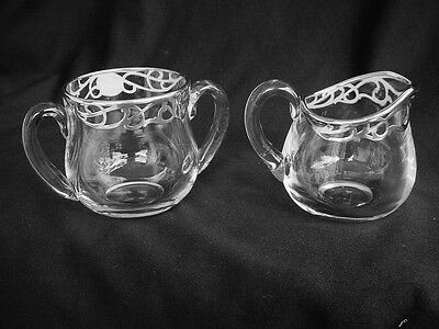 Antique Sterling Silver Overlay Blown Glass Creamer & Sugar Bowl