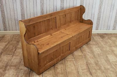 Handmade 4Ft Pine Settle Storage Hall Bench Handmade In Great Britain Waxed