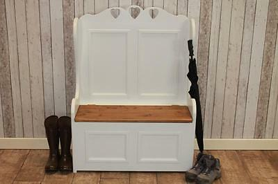 3Ft Shabby Chic Pine Monks Bench Pew Painted In Farrow & Ball Handmade In Uk