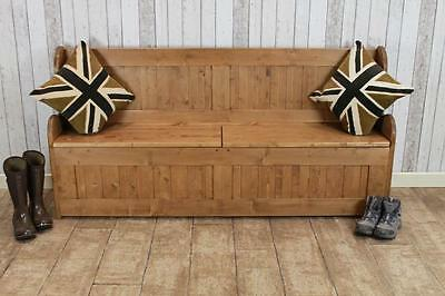 "3Ft 6"" Handmade Waxed Pine Storage Bench Hall Settle Handmade In Great Britain"