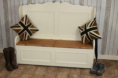 Shabby Chic Painted 4Ft Pine Settle In Farrow & Ball Handmade In Great Britain