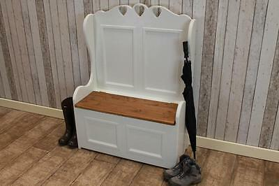 Handmade Shabby Chic Painted 4Ft Pine Settle Bench Bespoke Made To Order In Uk