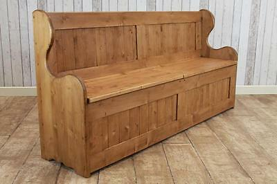Handmade In Great Britain Pine Settle Monks Bench Storage Bench Pew Hall Storage