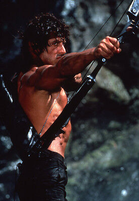 Sylvester Stallone barechested firing crossbow classic Rambo First Blood slide