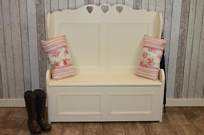 Pine Heart Hall Bench Storage Settle Painted In Farrow & Ball Handmade In Uk