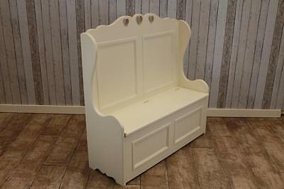 Large 6Ft Handmade Solid Pine Painted Heart Settle Shabby Chic Farrow & Ball