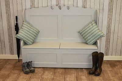Hand Painted Solid Pine Storage Hall Bench Settle Handmade In The Uk In Any Size