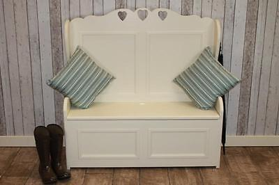 Bespoke Handmade Pine Settle Storage Hall Bench Painted In Farrow & Ball