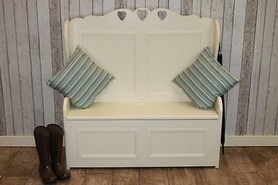 3Ft Handmade Painted Pine Settle With Triple Heart Design Shabby Chic