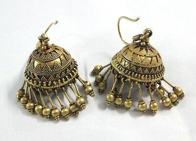 Rare! Vintage antique ethnic tribal solid 18K old Gold Earring pair Dangle india