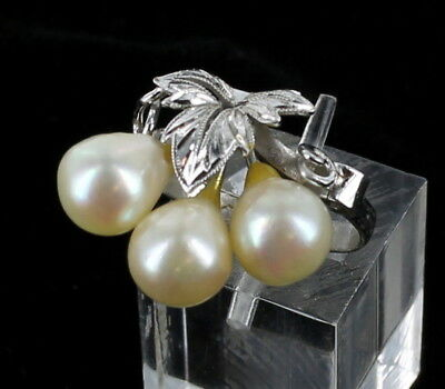Antique Chinese Export Silver 3 Stunning Baroque Pearls Grape Design Ring Sz 7.5