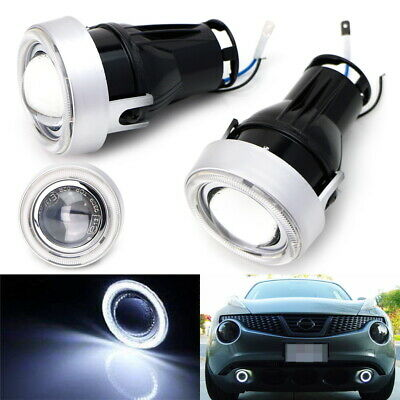 """3"""" Projector Fog Light Lamps w/ White 40-LED Halo Angel Eyes Rings For Car"""