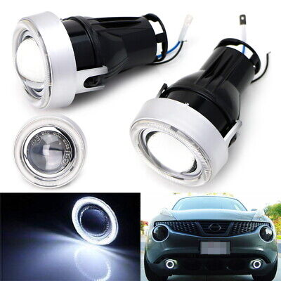 "Universal 3"" Projector Fog Light Lamps w/ 40-LED Halo Angel Eyes Rings For Car"