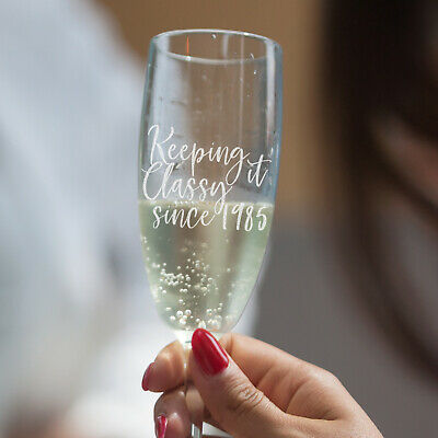 Personalised Engraved Birthday Champagne Glass - Custom Bday Present FREE Gift