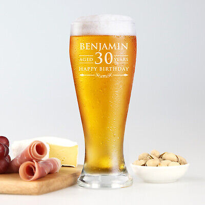 Personalised Engraved Beer Glass 425ml 18th 21st 30th 40th 50th Birthday PRESENT