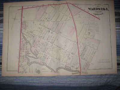 Antique 1875 Ward 2 & 4 Lawrence Massachusetts Handcolored Map Essex County Jail