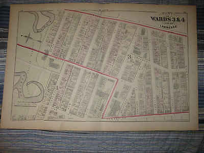 Antique 1875 Ward 3 & 4 Lawrence Massachusetts Handcolor Map Catholic Church Nr