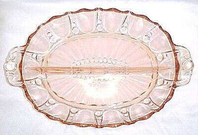 Pink Depression Glass ~ Divided Dish ~ Two Sections ~ Oyster and Pearl