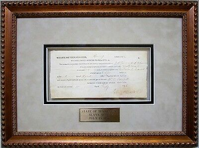 """FRAMED SLAVE DOCUMENT, State of Tennessee, July 15, 1836, """"one Negro boy Ben"""""""