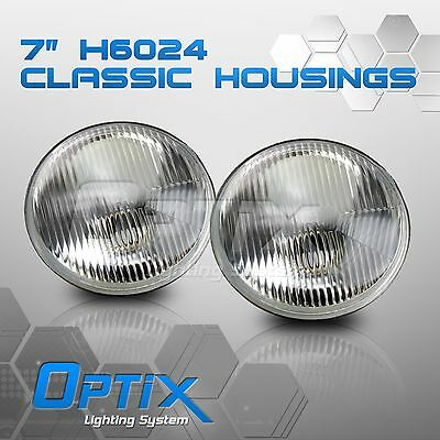 "H6024 7"" Round Head Light Housing Conversion Lamp Glass Pair"
