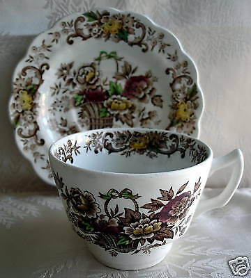 RIDGWAY CHINA OLD ENGLISH BOUQUET CUP & SAUCER, set