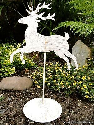 Antique Style Handmade Wrought Iron Stag Reindeer Weathervane Ornament Folkart W