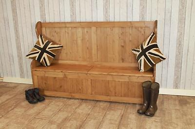 Rustic Pine Hall Settle Pew Handmade In Great Britain 4Ft With Tall Back