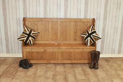 Bespoke Pine Storage Settle Hall Bench Handmade In The Uk 5Ft Rustic Pine Bench