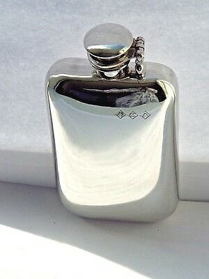 6oz stamped pewter hip flask with captive top