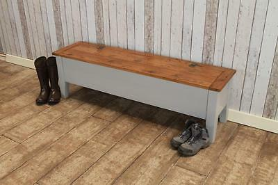 Rustic Pine 5Ft Kitchen Bench With Storage Painted Base In Farrow & Ball Bespoke