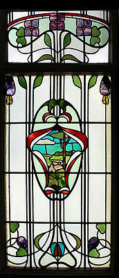 Art Nouveau Floral Scenic English Antique Stained Glass Window Stunning