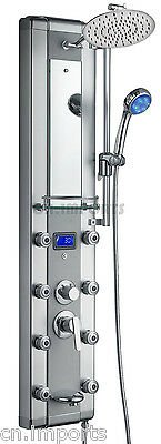 "51"" Aluminum Shower Panel Spa Tower with Massage Jets Spout & LED Showerhead"