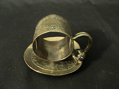 Meriden & Co. Victorian Silver Plate Lily Pad & Blossom Engraved Napkin Ring