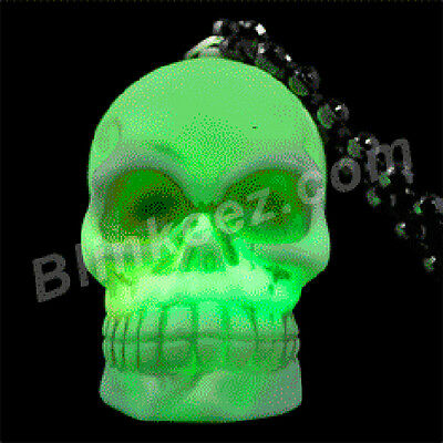 Light up LED SKULL NECKLACE Halloween COSTUME Flashing BLINKING Glow Beads!