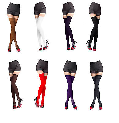 NEW Lace Top 80 Denier Sheer Hold-Ups Stockings 9 Various Colours- Sizes S-XL