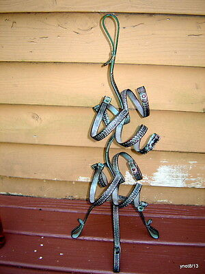heavy guilded metal WINE RACK hammered faux HORSE COLLAR design copper-StrapLook