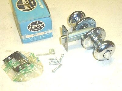 NOS! 1950 Kwikset #300 PRIVACY DOOR LOCK SET Finish: US26 CHROME