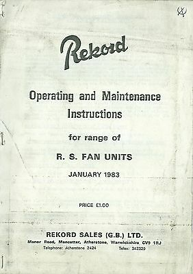 1983 Rekord Rs Fan Units Operating Instructions