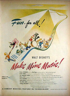1946 Movie:  Walt Disney - Make Mine Music! Print Ad!