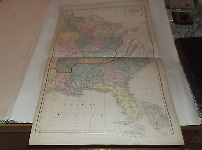 """1855 CORNELL'S """"SOUTHERN and WESTERN STATES"""" ANTIQUE MAP, back MEXICO ++++++"""