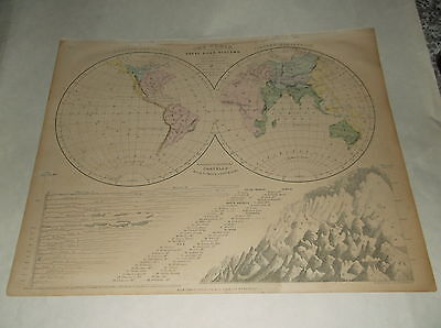 """1855 CORNELL'S """"HEMISPHERES """" ANTIQUE MAP, back is """"THE WORLD""""."""