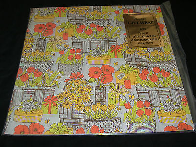 Vtg Paper Gift Wrap FLOWERS WOVEN WICKER BASKETS DAISIES TULIPS Sealed! NOS