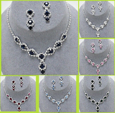 Silver Rhinestone Crystal Tear Drop Bib Necklace Earrings Bridal Wedding Chain