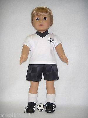 """Black & White Soccer Outfit  Accessories fits 18""""  American Girl Dolls Handmade"""
