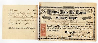 1869 Pullmans Palace Car Company stock signed by George Pullman