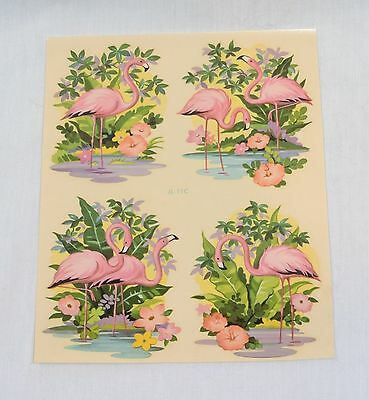 Vintage Pink FLAMINGO Group of 4 Small DECALS Liberty Company Free US Shipping!
