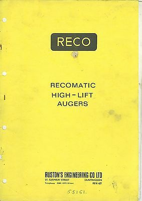 Reco Recomatic High-Lift Augers Parts List