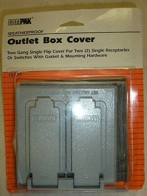 NOS! GAMPAK 2-GANG SINGLE FLIP OUTLET COVER for (2) RECEPTS, WEATHERPROOF #16324