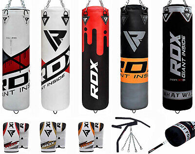 RDX 5ft Punch Bag Kick Boxing Martial Art MMA Gloves Chains Bracket Training PB