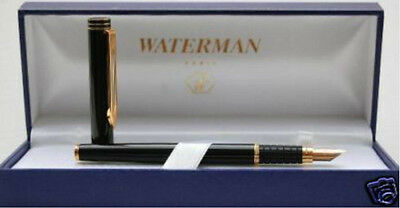Waterman Exclusive Matte Black & Gold  Fountain Pen 18K Gold Med  Pt  New In Box
